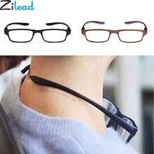 Zilead удобные Сверхлегкий с лямкой на шее, очки для чтения, висит стрейч Для женщин& Для мужчин покрытая цельной полиуретановой кожей HD пресбиопии+ 1,0+ 1,5+ 2,0+ 2,5+ 3,0+ 3,5+ 4,0