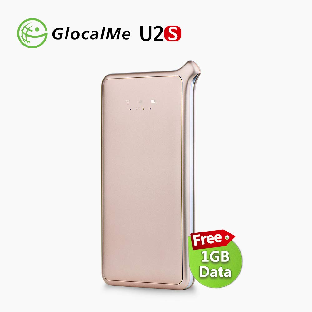 GlocalMe U2S Lite Mobile Hotspot Worldwide High Speed 4G WiFi Hotspot With 1GB Global Data Portable Wifi Router - Gold