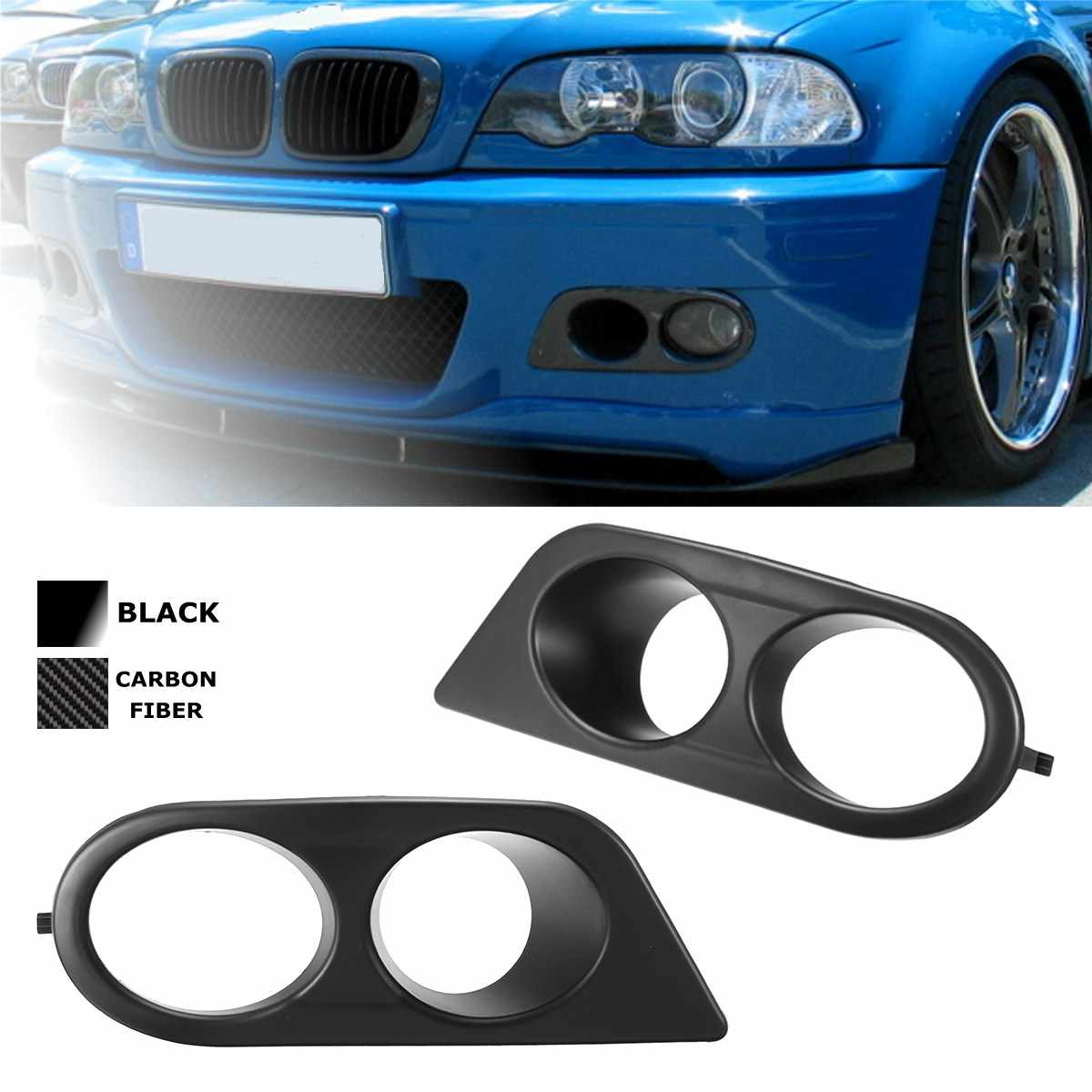 Pair Car Fog Light Covers Surround Air Duct For Bmw E46 M3 2001 2006 Carbon Fiber Glossy Black