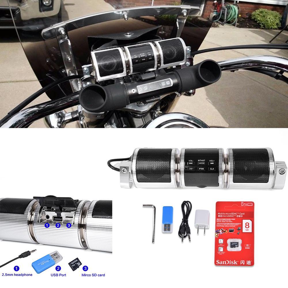 Pour Harley Sporster Softail Bobber Chopper étanche Bluetooth moto Audio stéréo MP3 FM Radio haut-parleur guidon avec 8GB