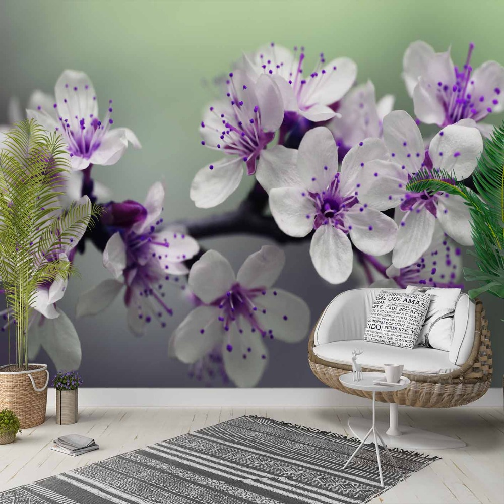 Else White Purple Orchids Flowers Floral 3d Photo Cleanable Fabric Mural Home Decor Living Room Bedroom Background Wallpaper