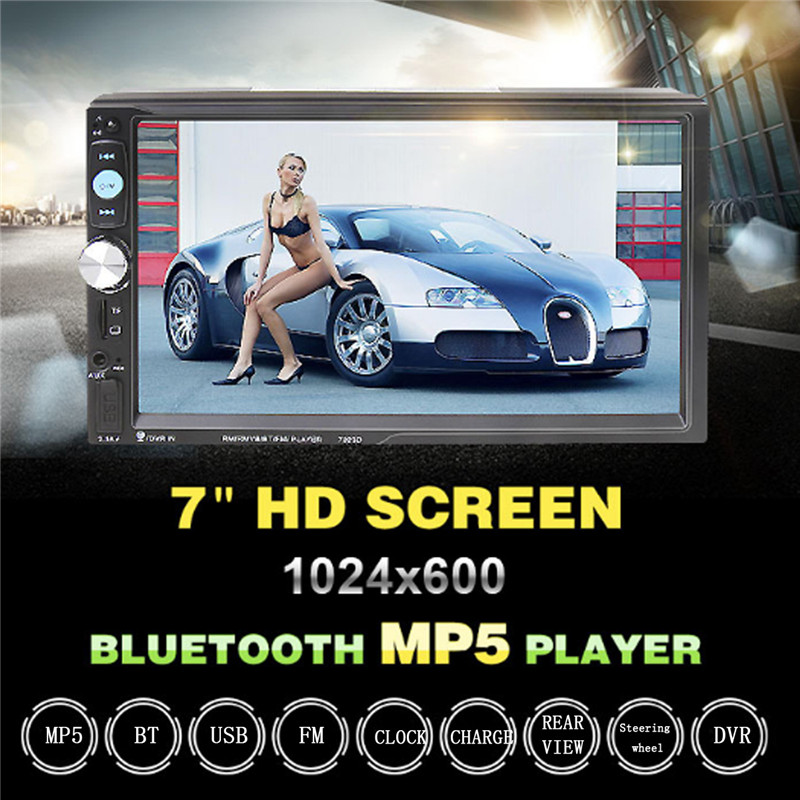 7023D 2DIN 7inch Bluetooth HD Car MP5 Player Reader Radio Fast Charge with Camera Car Stereo Audio MP5 Player 7 hd 2din car stereo bluetooth mp5 player gps navigation support tf usb aux fm radio rearview camera fm radio usb tf aux
