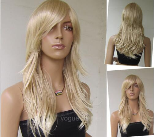 Long Dark Blonde Flip Curly Cosplay Party Hair Wig >>>girls Cosplay wig Free shipping