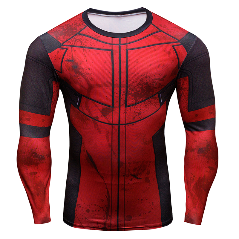 New Brand Summer Compression T Shirt Men 3D Deadpool T-Shirt Long Sleeve Cosplay Costume Shirt Crossfit Fitness Clothing Tops