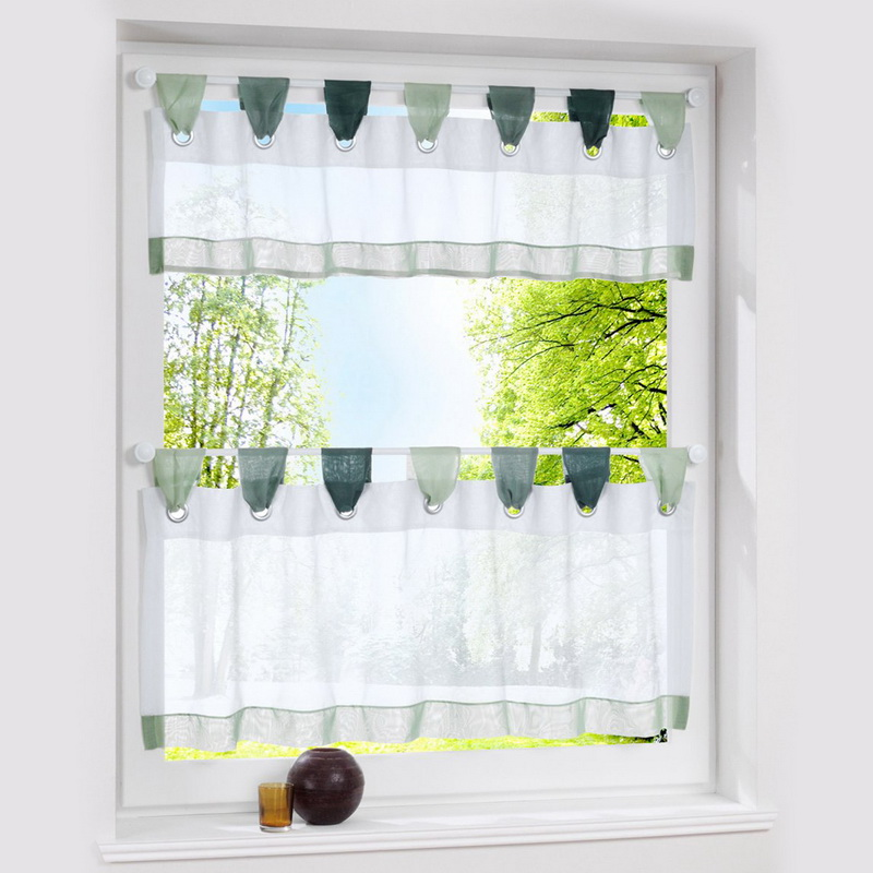 Urijk 1PC Only Pastoral Green Half Curtain For Kitchen Small Cafe Curtain  Window Valance Translucidus