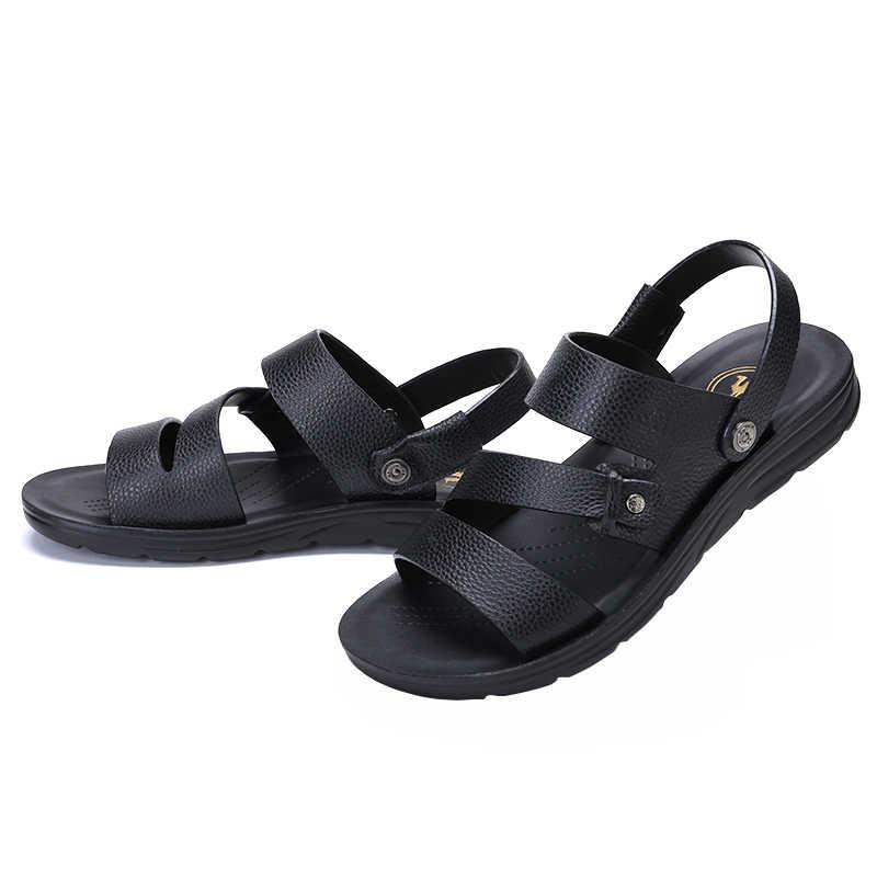 الجمل الصيف حذاء رجالي كاجوال صنادل شاطئ مريح حقيقي أحذية من الجلد الأسود جلد البقر شبشب رجالي