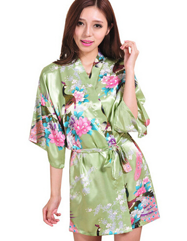 New Silk Bathrobe Women Satin Kimono Robes For Women Floral Robes ...
