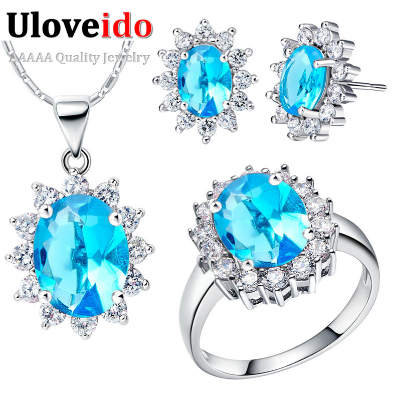 Uloveido Bridal-Jewelry-Sets Earrings Wedding-Necklace Gifts Blue-Stone Trendy-Style