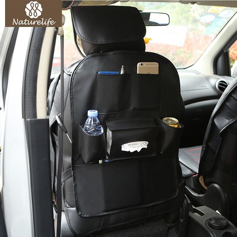 Cuero coche asiento trasero almacenamiento organizador Trash Net titular Multi-Bolsillo de viaje de almacenamiento de bolsa de suspensión para Auto capacidad de almacenamiento bolsa