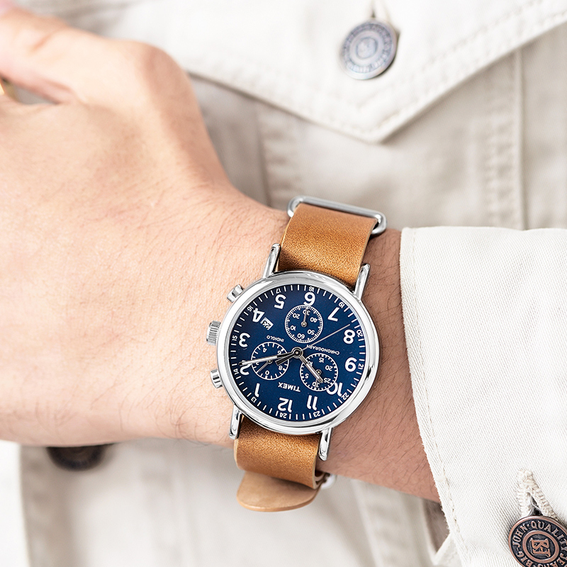 4e6b72904801 Timex Original Men Watch Unisex TW2P624 Weekender Multi function Chrono  Leather Slip Thru Strap Quartz Watches-in Quartz Watches from Watches on ...