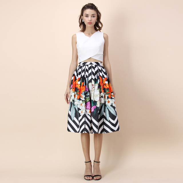270c62ffd0 Chicwish Autumn Women's Zigzag Party Colorful Flower Black&White Stripes Floral  Printed A-line Midi Pleated Lady Skirt