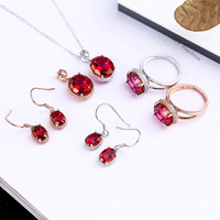 925 Silver Gold Studded Ruby Pendant Necklace Ring Ear Jewelry Set Wedding Ring Cheap and Unique Wholesale Fashion Jewelry