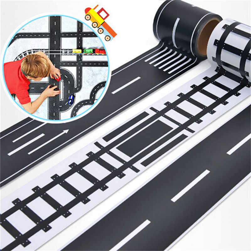 Kids Boy Toys Railway Road Washi Tape Sticker Wide Traffic Road Adhesive Masking Tape Scotch Road For Car Play Fun Birthday Gift