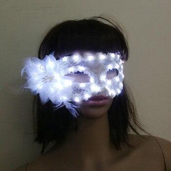Free shipping 2018 Women Lady Light Up LED Mask Masquerade Carnival Venetian Ball Masks Flashing Party Wedding Halloween Christm