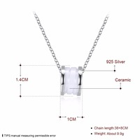 Wholesale Simple Korean Style Silver Jewelry Design White Ceramic cylinder shaped Charm 925 Pure Silver Necklace For Woman