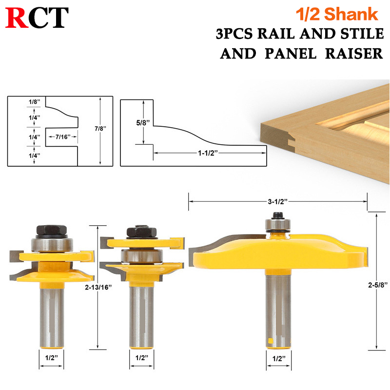 3 Pc. Rail & Stile and Panel Raiser Router Bit Set - Large Ogee -1/2 Shank- серьги stile italiano p0816