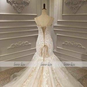 Image 5 - Роскошное кружевное свадебное платье Русалка Lover Kiss Vestido De Noiva 2020, церемониальный наряд с бусинами и жемчужинами, Африканское свадебное платье, корсет