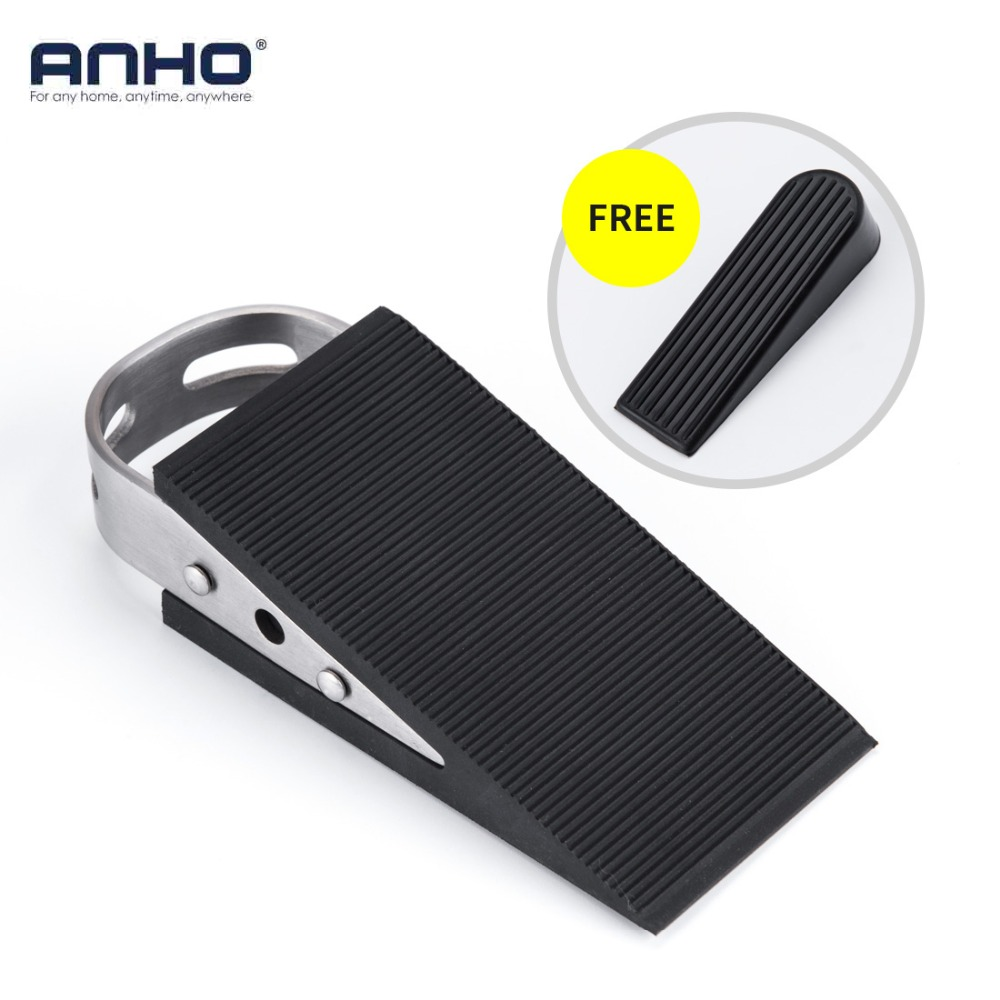 ANHO Rubber Stainless Steel Door Stopper Security Thickening Anti-collision Floor Door Holder Protection Kids Safe Home Office free shipping door stops door hardware household part stainless steel door stopper wiht rubber door holder house ornamentation