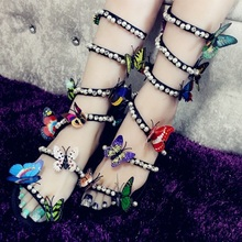 Women Sandals Narrow Band Beading Colorful Butterfly Summer Shoes Ankle Strap Peep Toe Flat Gladiators
