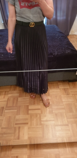 Spring Women Long Pleated Skirt High Waist Women Long Skirt Female Autumn High Quality Women Maxi Skirt Vintage Saia photo review