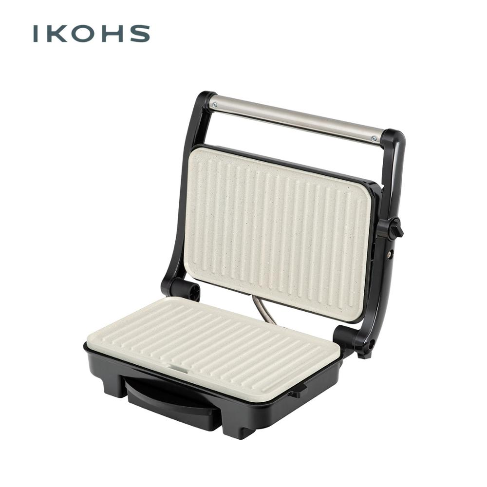 IKOHS Grill PRO Sandwich Maker Grills Grilled 1500W Color Silver Metal Floating Cover Nonstick Adjustable image
