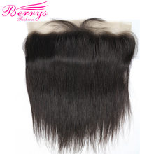 [Berrys Fashion] Lace Frontal 13x4 Brazilian Straight Virgin Hair 100% Human Hair Extensions with Baby Hair 10-20 Bleached Knots(China)