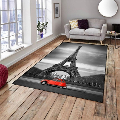 Else Vintage Gray Paris Eiffel Tower Red Car 3d Print Non Slip Microfiber Living Room Decorative Modern Washable Area Rug Mat