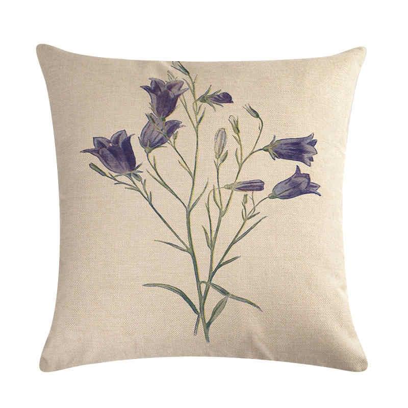 ดอกไม้รูปแบบ Cushion ครอบคลุมปลอกหมอนดอกไม้ตกแต่ง Beige ผ้าลินินหมอนกรณี