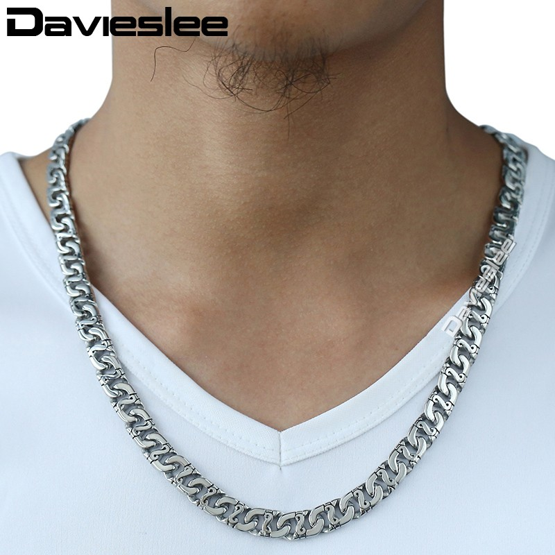 Image 3 - Davieslee Mens Necklace 316L Stainless Steel Biker Chain Necklaces for Men Silver Wholesale Punk Jewelry 9.5mm 18 36inch LHN01-in Chain Necklaces from Jewelry & Accessories