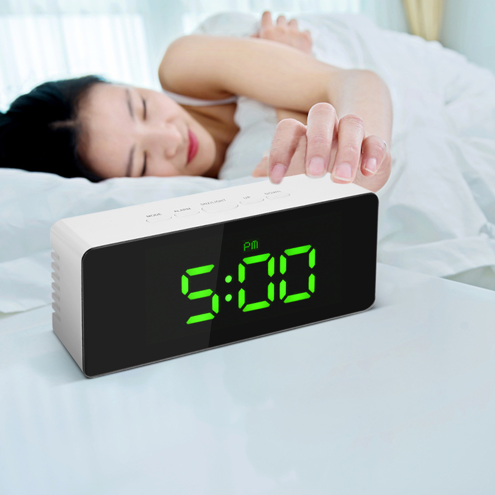 Reloj despertador Digital LED reloj despertador termómetro interior ajustable luminancia del LED mesa escritorio inteligente despertador Snooze función