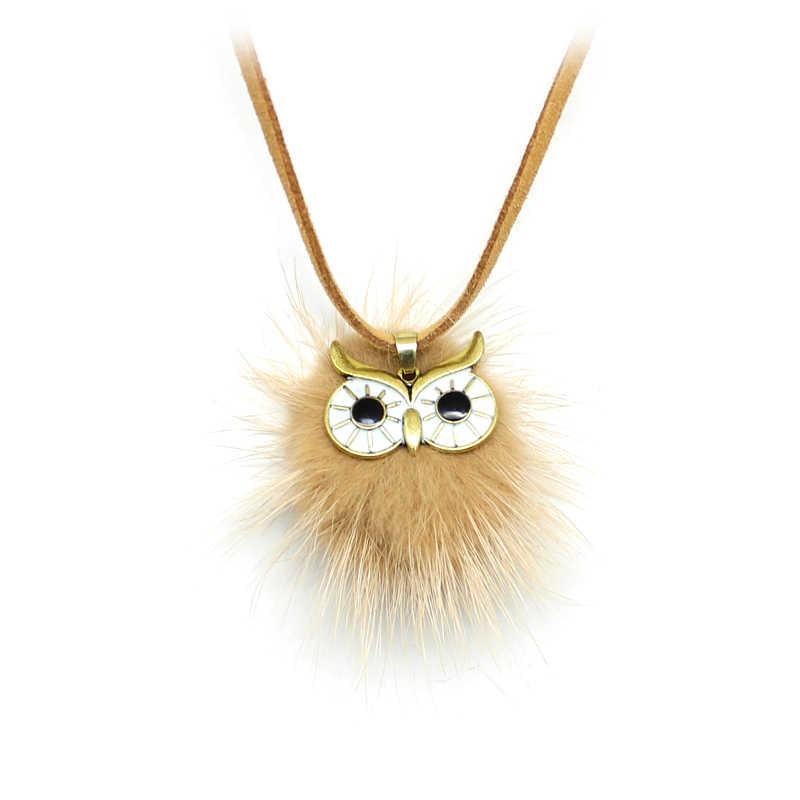 Multicolor búho felpa bola colgante collar imitación cuero largo piel-Bola lindo búho-forma suéter cadena Mujer joyería