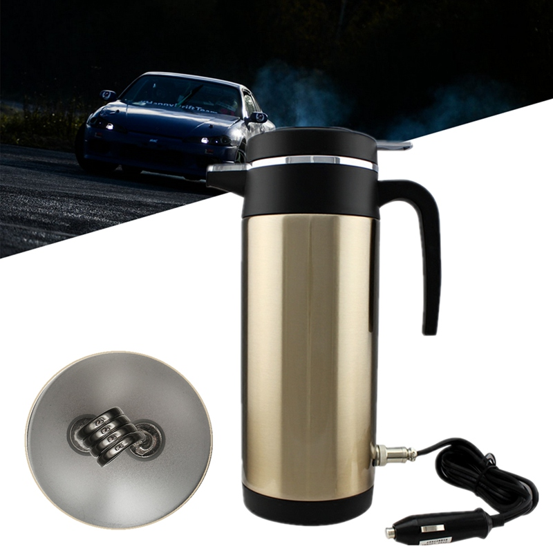 Coffee Heated Travel Kettle 1200ml 12V Car Kettle Stainless Steel Cup Kettle Thermoses Based Heating For Truck Use Electric Cup