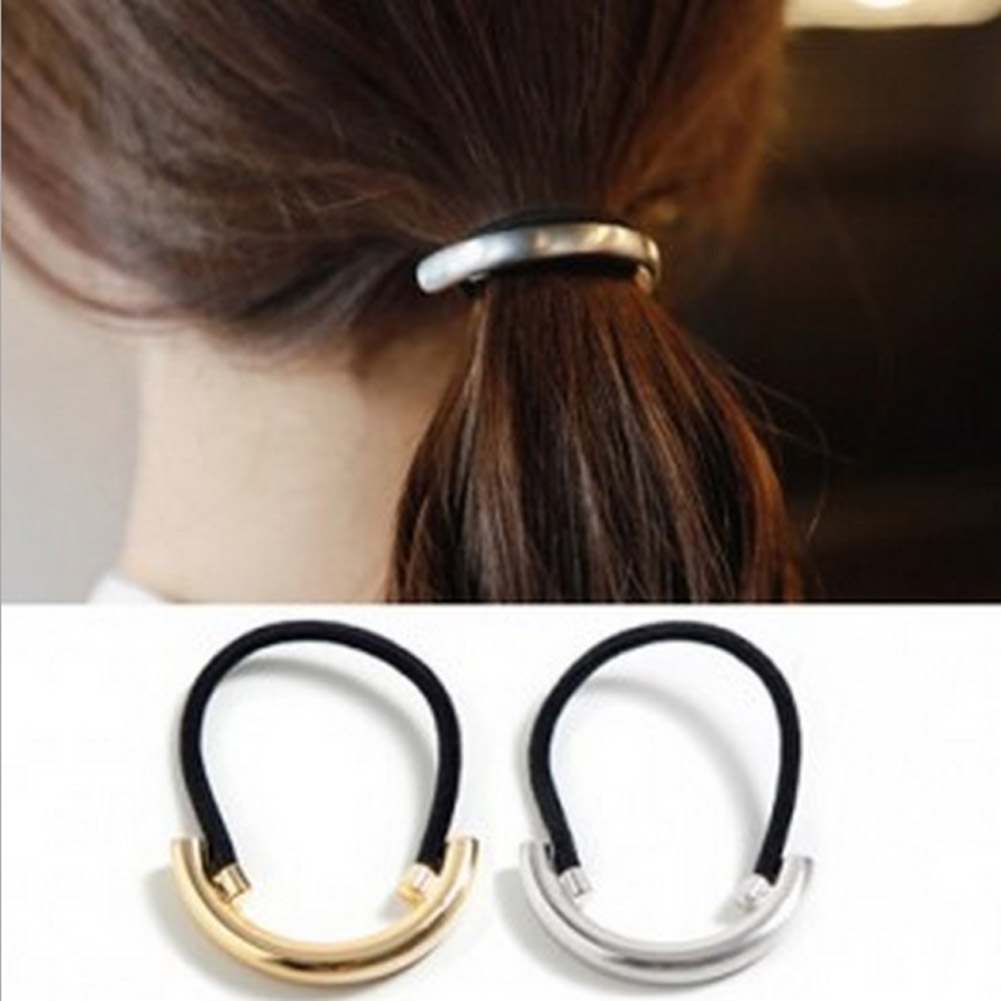 New 1pcs Silver gold Color Metal Ring Hair Ropes Cuff Wrap Tail Holder Ring Rope Elastic