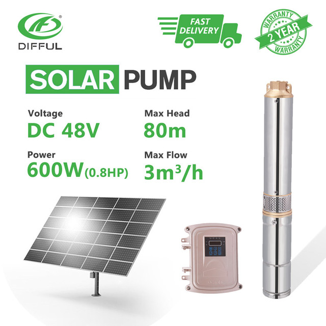 "3"" DC Submersible Solar Water Pump 48V 600W  MPPT Controller Plastic Impeller Bore Hole Irrigation Kits (Head 80m, Flow 3T/H)"