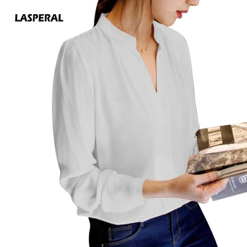 Long Sleeve Chiffon Shirt Solid Color Sexy V Neck Blouse Shirts Tops Office Lady Blusas