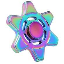 สีรุ้งหกดาวแฉกTri-s Pinnerอยู่ไม่สุขของเล่นโลหะมือปั่นสำหรับออทิสติกและสมาธิสั้นเด็กผู้ใหญ่โฟกัสมายากล