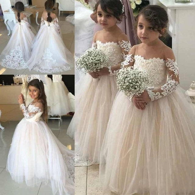 22ab75d66f63c Flower Girl Dresses For Wedding 2019 Long Sleeve Ball Gown Lace Chmpgne  Appliques Little Gowns Girls First Communion Gowns