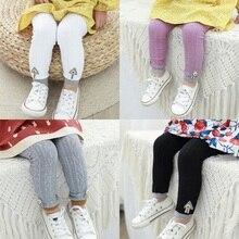 Детские леггинсы для девочек; сезон осень-зима; вязаные детские однотонные леггинсы; повседневные блестящие узкие брюки до щиколотки для малышей; Цвет Черный