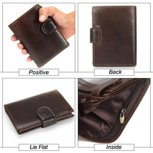 Men Wallet Genuine Leather Short Multifunctional Cowhide Purse Coin Pocket Photo Card Holder