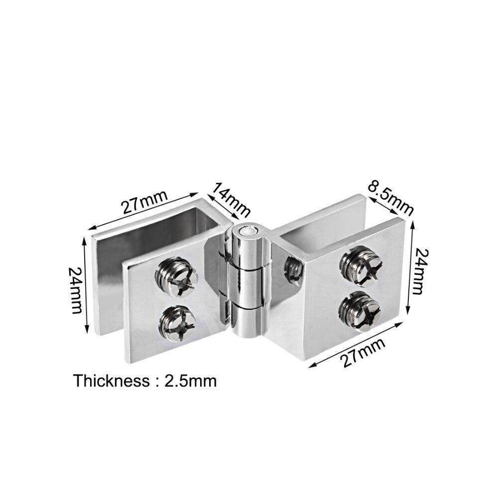Silver Tone Glass Pivot Door Cabinet Lock Hinge Clamp Kit for 5-8mm Glass Door