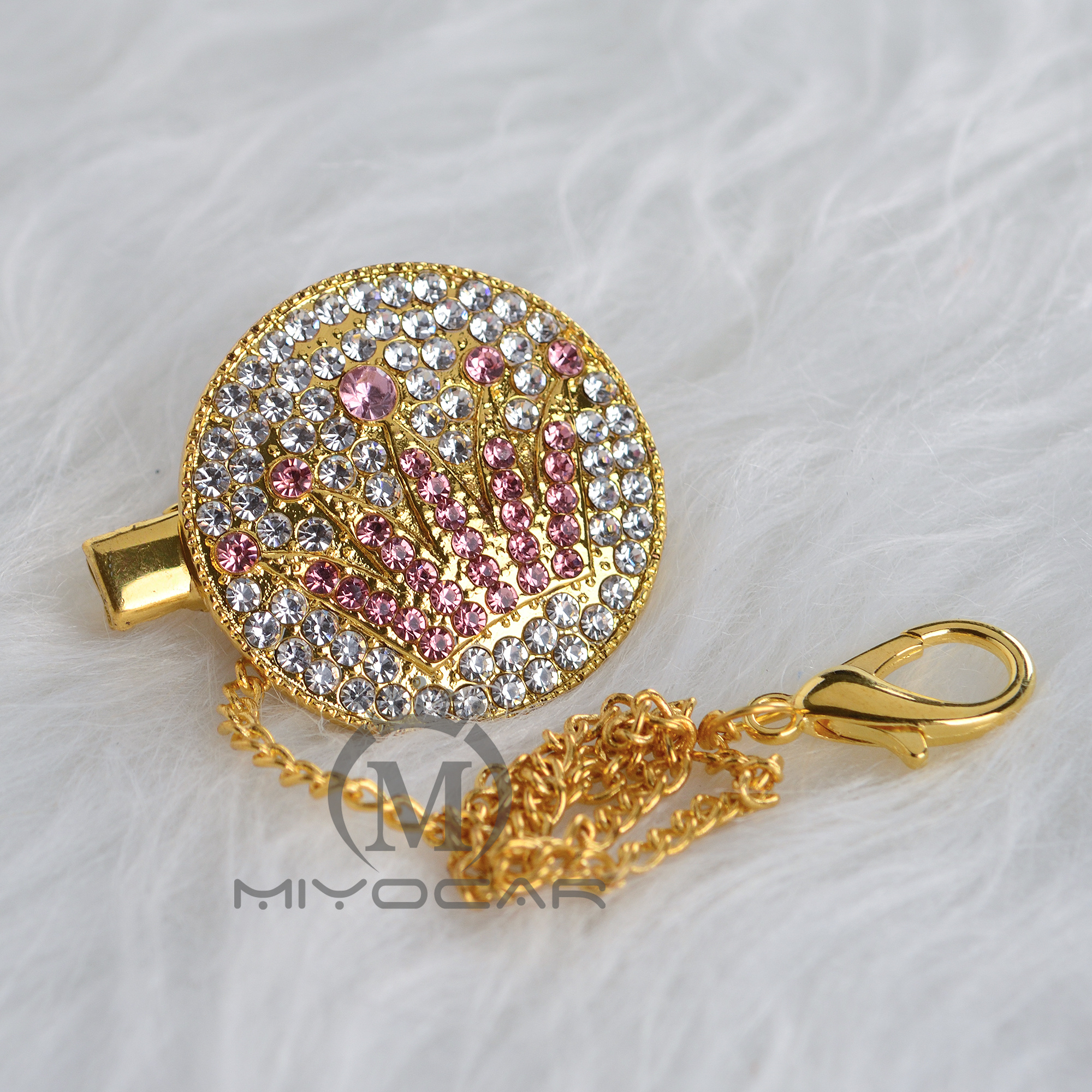 MIYOCAR Bling Handmade Pink Crown Pacifier Clip Pacifier Chain Holder Dummy Clip Metal Chain Safe To Baby CH-1