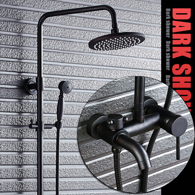 Luxury Bathroom Rain Shower System with Hand Shower and Spout, Oil Rubbed Bronze / Black, Solid Brass Material,