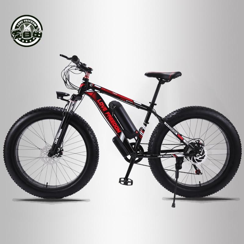 Amam A Liberdade 24 velocidade Mountain Bike Bicicleta Elétrica 36V 350W 10.4Ah 26X4.0 Veículo Elétrico 48 Pagar 500 Watt Motor