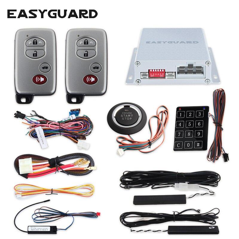 Système d'alarme de sécurité de voiture EASYGUARD avec entrée sans clé passive PKE démarrage du moteur à distance démarrage sans clé bouton poussoir 12 V (6 pièces)