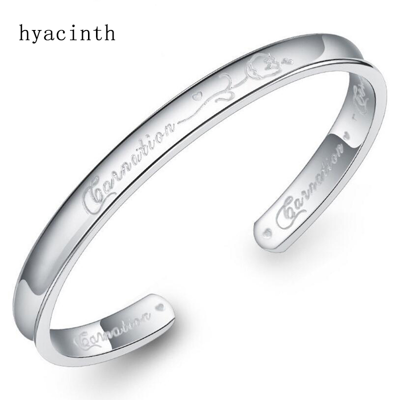 Women Fashion silver bangle gratitude flower New style quality 925 silver bracelets for women luxury Jewelry Mother's Day Gift