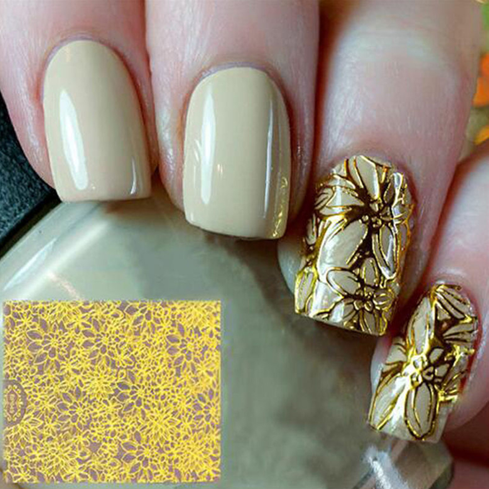 1 Sheet Embossed 3D Nail Art Stickers Blooming Flower Decals Tips Decoration DIY 3d nail stickers embossed pink flowers