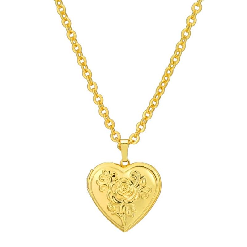 Photo Frame Memory Locket Pendant Necklace SilverGold Color Romantic Love Heart Vintage Rose Flower Jewelry Women Gift