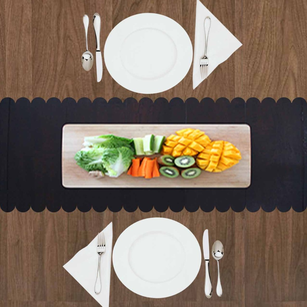 Else Green Yellow Vegetables On Wooden Black Floor 3d Print Pattern Modern Table Runner For Kitchen Dining Room Tablecloth