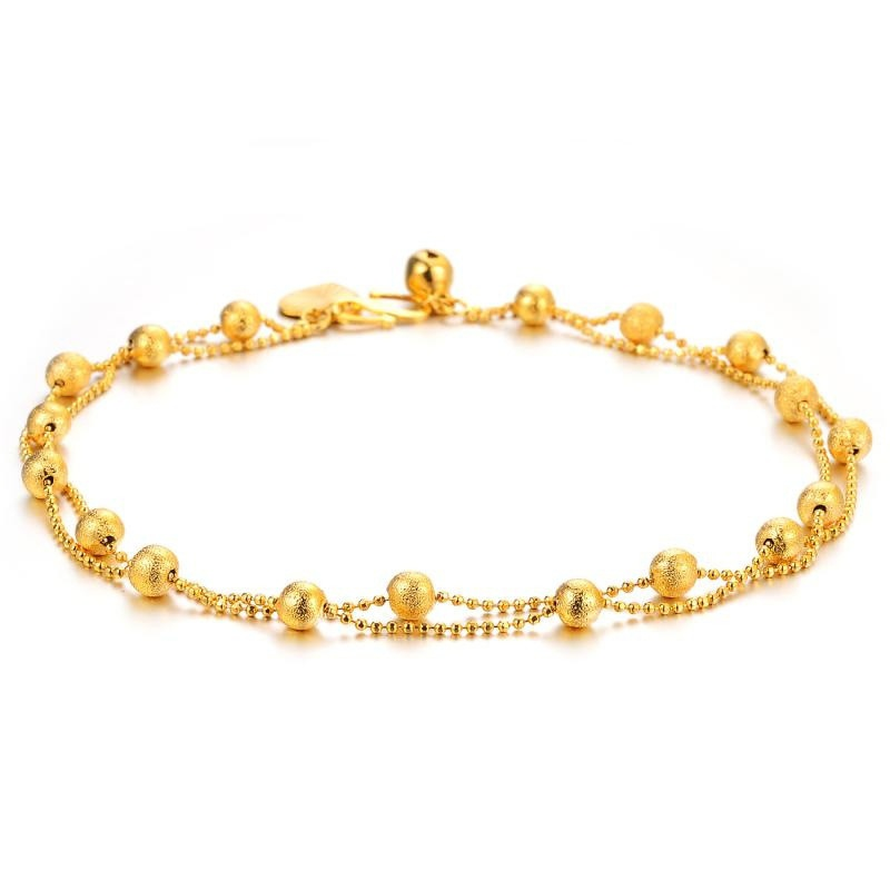 Creative Gift Scrub Lucky Beads Anklet Yellow Gold Filled Double Layers Chain Feet Bracelet Women Foot Accessories