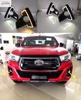 JanDeNing 1 пара светодиодный DRL Габаритные огни с желтыми поворотниками Для 2018 Toyota Hilux Rocco